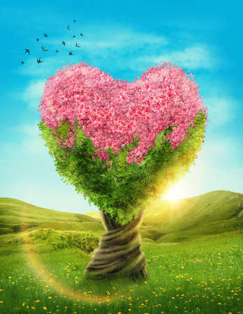 Heart shaped tree in the meadow Stock Photo