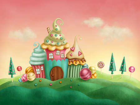 Fantasy houses from the cupcakes Stock Photo - 35578856