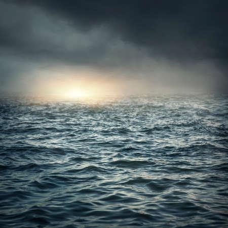 The stormy sea, abstract dark background. Archivio Fotografico