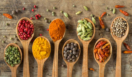curry spices: Colorful spices in wooden spoons