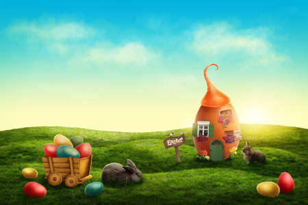 lapin: Printemps pâques prairie avec maison d'oeuf et lapins