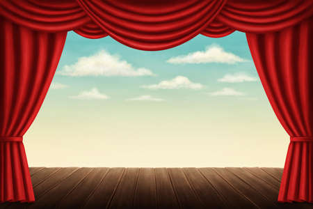 copyspace: Theater stage with red curtains Stock Photo