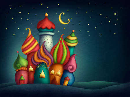 case colorate: Oriental case colorate di notte