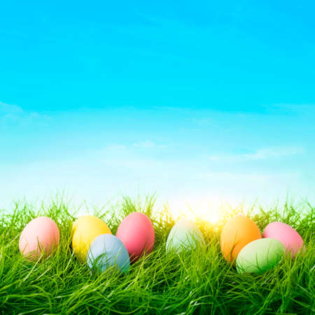 Colorful easter eggs on a blue background