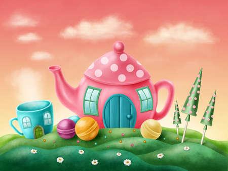 casita de dulces: Fantas�a tetera y la taza de t� casas Foto de archivo