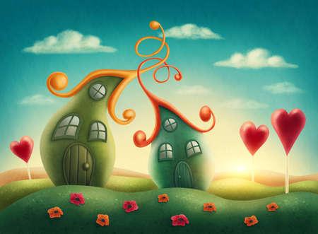 Fantasie huizen in de wei Stockfoto