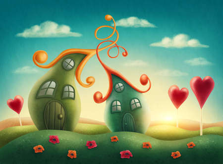 fantasy fairy: Fantasy houses in the meadow