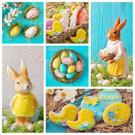 Collage with easter decoration and cookies photo