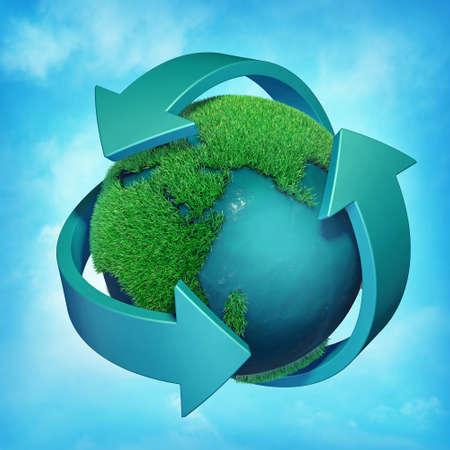 Recycling symbol on a blue sky  background