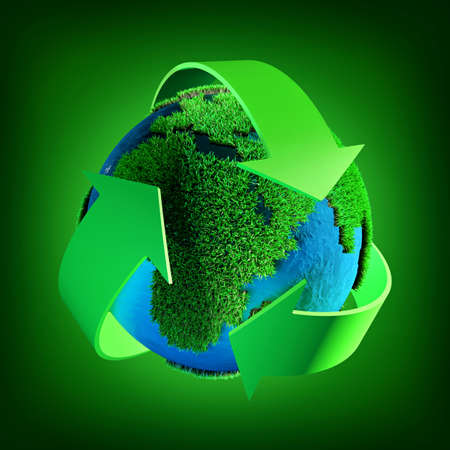 recycling symbol: Recycling symbol  on a green background