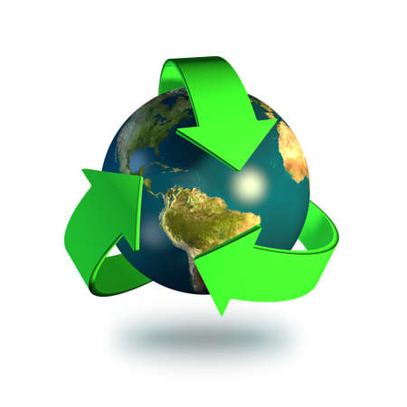 Recycling symbol isolated on a white background photo
