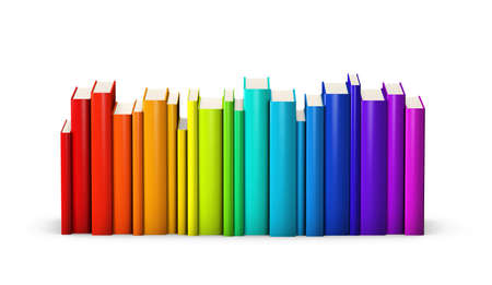 rainbow colours: Colorful books standing in a row Stock Photo