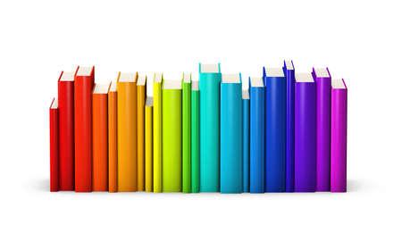 arco iris: Libros coloridos pie en una fila Foto de archivo
