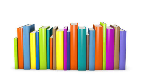 row: Colorful books standing in a row Stock Photo