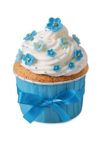 sugarpaste: Forgetmenot cupcake isolated on a white background Stock Photo