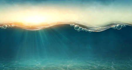 sunbeams: Abstract underwater background with sunbeams Stock Photo
