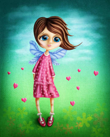 sad love: Little fairy girl with wings