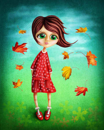girl in red dress: Little fairy girl in the autumn