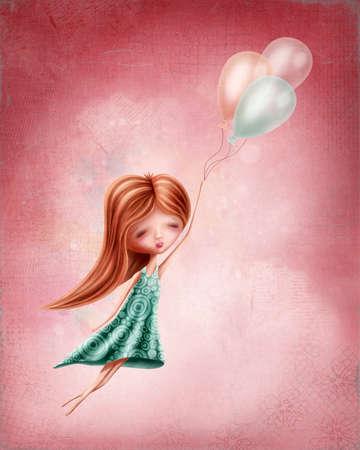 folk tales: Little girl flying in the sky Stock Photo