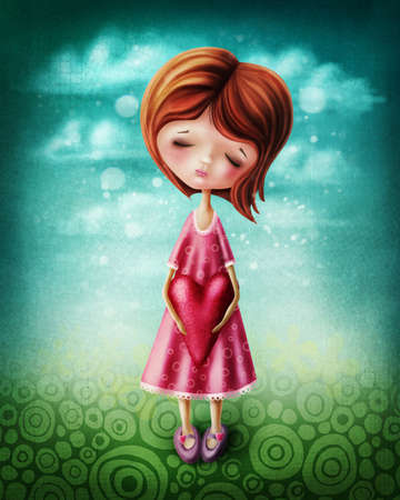 folk tales: Little girl with a red heart