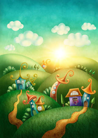 rural house: Fantasy village with funny houses Stock Photo