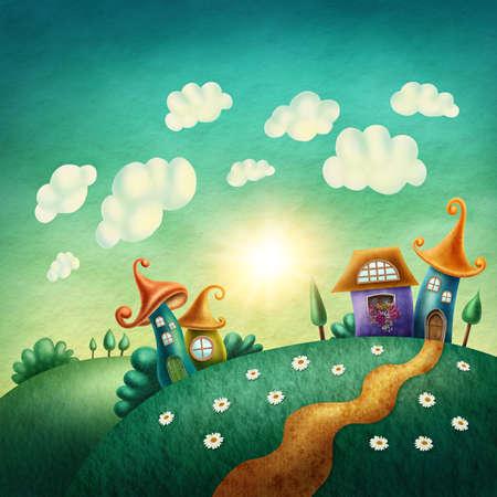 aquarelle: village Fantasy avec des maisons drôles