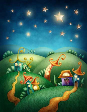 village Fantasy avec des maisons drôles