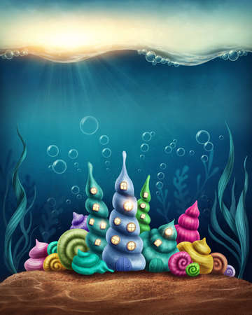 world group: Underwater fantasy kingdom with shell houses Stock Photo