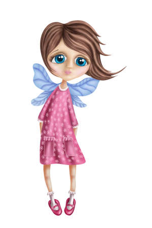 folk tales: Little fairy girl isolated on a white background Stock Photo