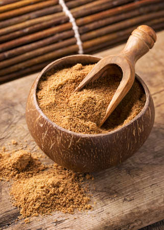 coconut palm sugar: Coconut palm sugar in a bowl Stock Photo