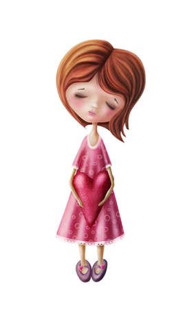 petite fille triste: Petite fille de fées avec le coeur isolé sur un fond blanc