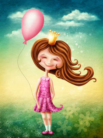 girl happy: Little fairy girl with pink balloon