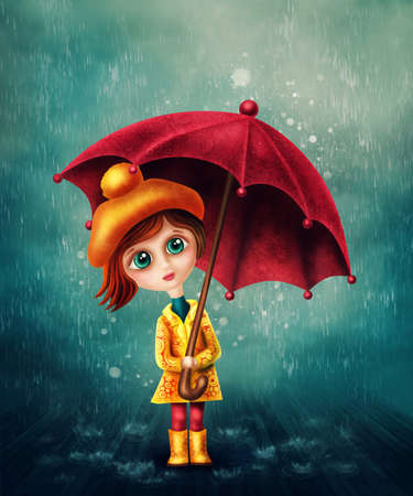 girl in red dress: Little girl with umbrella in the rain