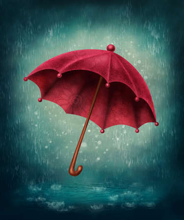 folk tales: Red umbrella and rain drops