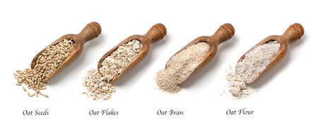 dry powder: Oat flakes, seeds and bran in spoons