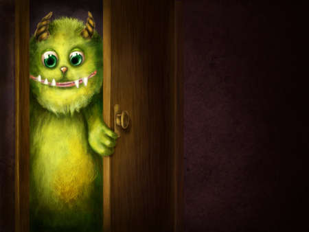 funny monster: Green monster peering into the room