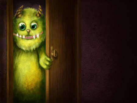 Groene monster turend in de kamer