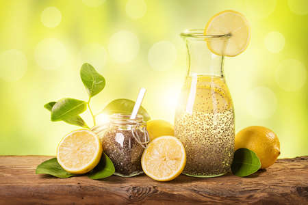 chia seed: Chia fresca natural energy drink Stock Photo