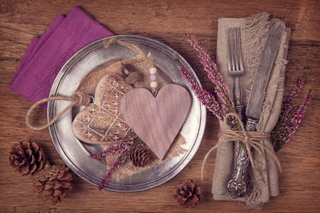 table setting: Autumn table setting with knife and fork