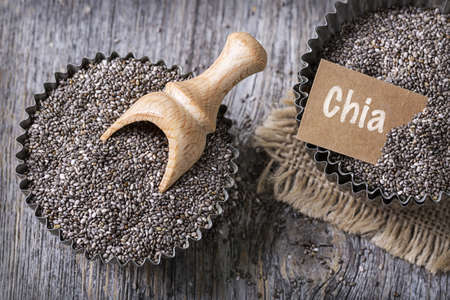 Chia seeds in a old muffin cup