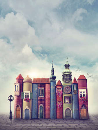 literatura: Ciudad mágica con libros antiguos