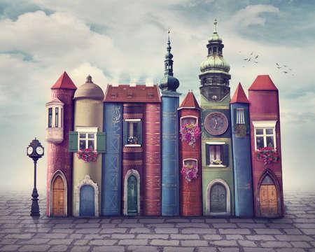 magie: Ville magique avec de vieux livres Banque d'images