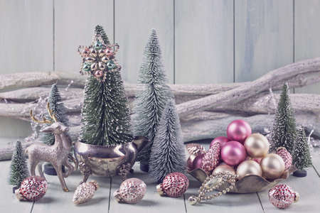 Pastel barevné dekorace na Vánoce