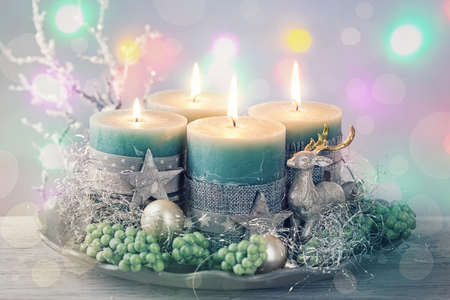 advent candles: Four green christmas candle for advent