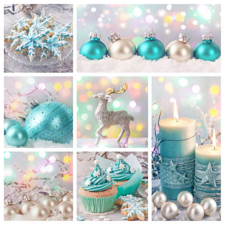 Pastel colored christmas decoration collage 写真素材