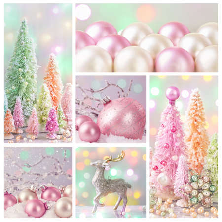 pink christmas: Pastel colored christmas decoration collage Stock Photo