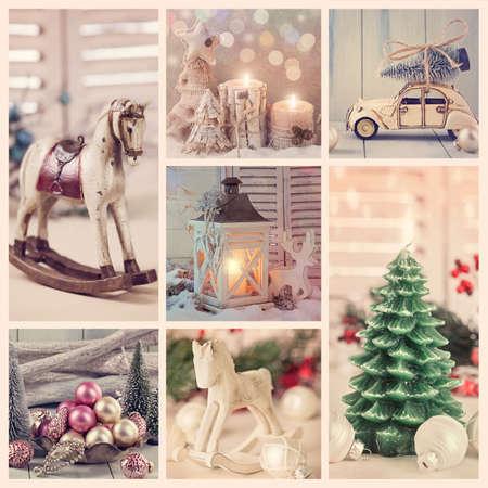 weihnachtskuchen: Collage mit alten Weihnachtsschmuck