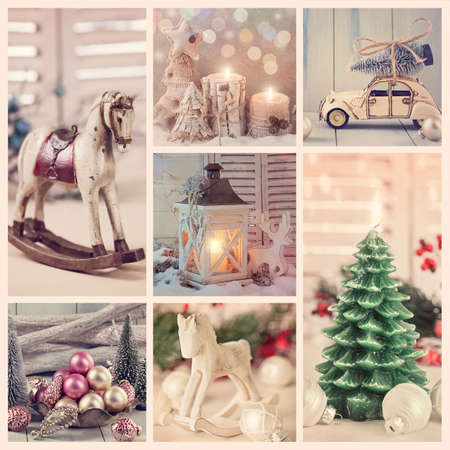 christmas tree ball: Collage with vintage christmas decoration