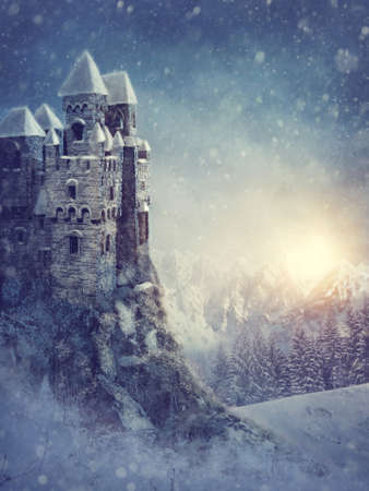 castle tower: Winter landscape with old castle at night Stock Photo