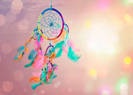dream catcher: Dream catcher and abstract bokeh background Stock Photo